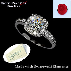 High Quality 18ct WhiteGold Plated Ring with Brilliant Swarovski Crystals