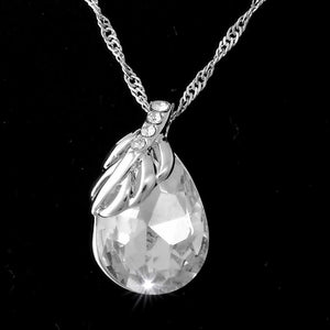 White Gold Plated Necklace with Clear Swarovski Crystal