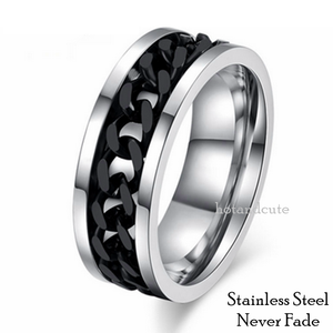 High Quality Stainless Steel Ring Solid Band Curb Chain Centre