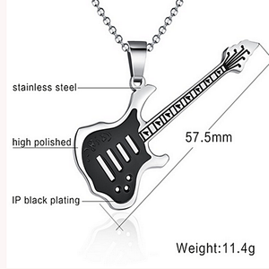 Stainless Steel Guitar Pendant with Necklace