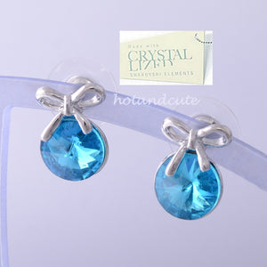 18K GOLD PLATED EARRINGS With Turquoise SWAROVSKI CRYSTALS