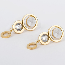 Load image into Gallery viewer, Stainless Steel Rose/White/Yellow Gold Plated Earrings with Swarovski Crystals and Shell