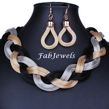 Load image into Gallery viewer, Fashionable Gold Plated Statement Mesh Set Choker and Earrings