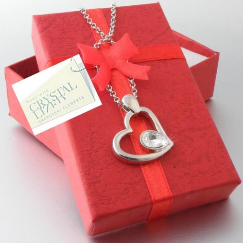 Gold Plated Heart Pendant with Swarovski Crystal