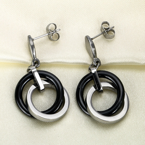 Stainless Steel with Ceramic Stylish Set Necklace Pendant Earrings