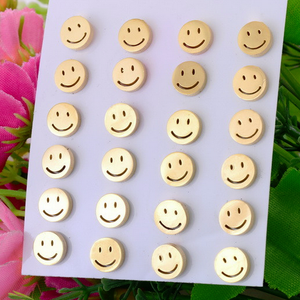 Stainless Steel Yellow Gold Plated SMILEY Stud Earrings Hypoallergenic