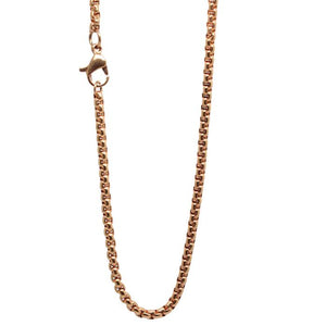 316L Stainless Steel Rolo Chain Necklace Rose Yellow Gold Silver Bronze Black Brown