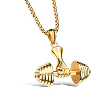 Load image into Gallery viewer, Stainless Steel 316L Necklace with Dumbble Weights Pendant