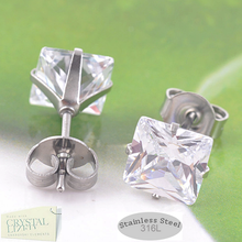 Load image into Gallery viewer, Stainless Steel Square Swarovsli Crystals Stud Earrings Hypoallergenic
