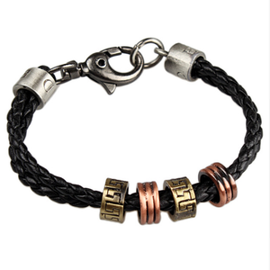 Black Leather and Stainless Steel Cool Bracelet