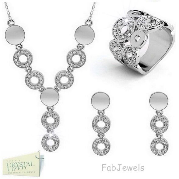 White Gold Plated 3 Piece Set with Swarovski Crystals Earrings Necklace and Ring