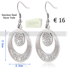 Load image into Gallery viewer, Stainless Steel Hypoallergenic Dangle Earrings with Swarovski Crystals