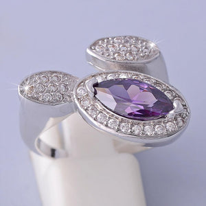Platinum Plated Ring with Purple swarovski Crystal
