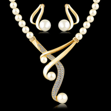 Load image into Gallery viewer, Elegant Simulated Pearl Crystal Set Earrings and Choker