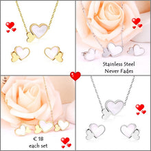 Load image into Gallery viewer, High Quality Stainless Steel 316L Heart SET with Shell Necklace Earrings