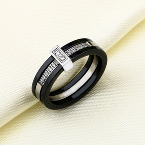 Black Ceramic Stainless Steel 316L Ring with Swarovski Crystals
