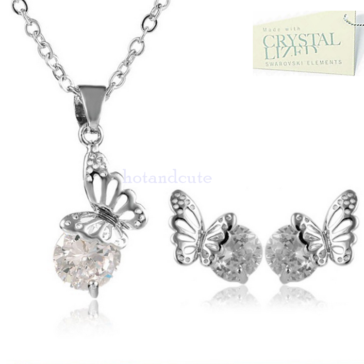 White Gold Plated Butterfly Set with Swarovski Crystals Earrings Necklace and Pendant