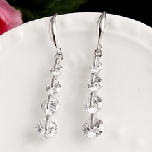Load image into Gallery viewer, High Quality 18k White Gold / Rose Gold Plated Long Earrings with Brilliant Swarovski Crystals