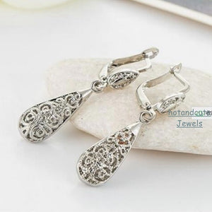 9k White Gold Plated Drop Filigree Set Earrings Necklace Pendant