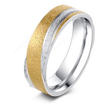 Load image into Gallery viewer, Stunning Stainless Steel Yellow Gold Plated Frosted Ring