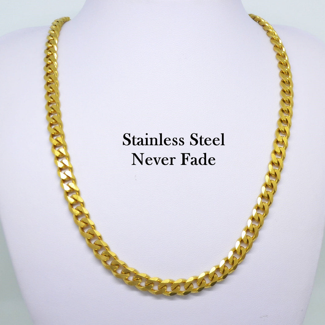 Solid Stainless Steel 316L Gold Plated Curb Chain Necklace