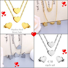 Load image into Gallery viewer, High Quality Stainless Steel 316L Heart SET Multi Layer Necklace with Earrings