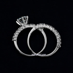 Double Ring White Gold Plated with Brilliant Swarovski Crystals