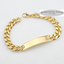 Load image into Gallery viewer, Stainless Steel Solid Id Bracelet Curb Chain Gold Plated