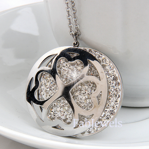 316L Stainless Steel Swarovski Crystals Long Sweater Heart Necklace