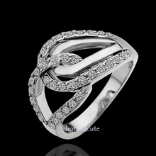 Load image into Gallery viewer, White Gold Plated Ring with Swarovski Crystals