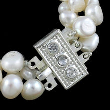 Load image into Gallery viewer, Beautiful Natural Freshwater Pearl 3 Strand Bracelet.