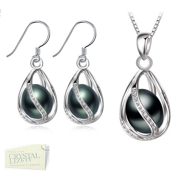 Stunning Sterling Silver Drop Freshwater Pearl and Swarovski Crystals Set