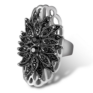 Gorgeous White Gold Plated Ring with Marcasites Stones