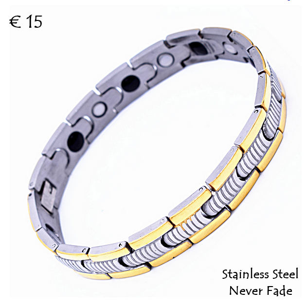Health Stainless Steel And Gold Plated Magnetic Bracelet