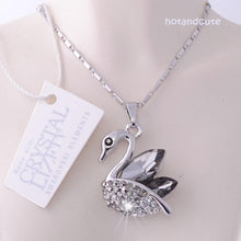 Load image into Gallery viewer, Swarovski Crystals Swan Pendant with 18k White Gold Plated Chain