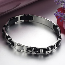 Load image into Gallery viewer, High Quality Stainless Steel and Black Silicone ID Bracelet.