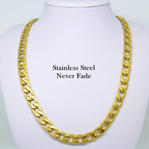 Chunky Solid Stainless Steel 316L Gold Plated Curb Chain Set Necklace Bracelet