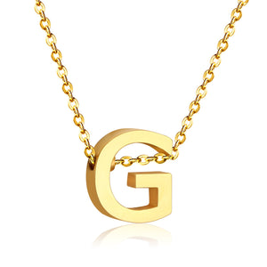 Stainless Steel 316L Yellow Gold Plated Necklace with Letter Initial Pendant