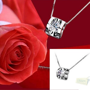 Sterling Silver 925 Necklace with Heart Swarovski Crystals Pendant