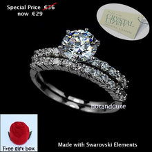 Load image into Gallery viewer, Double Ring White Gold Plated with Brilliant Swarovski Crystals