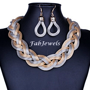 Fashionable Gold Plated Statement Mesh Set Choker and Earrings