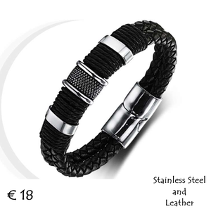 High Quality Genuine Leather and Stainless Steel Bracelet.