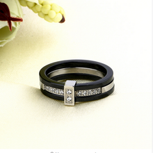 Load image into Gallery viewer, Black Ceramic Stainless Steel 316L Ring with Swarovski Crystals