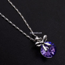 Load image into Gallery viewer, 18ct Gold Plated Chain with Purple Swarovski Crystal Pendant