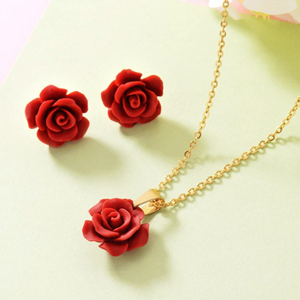 Stainless Steel Red Flower Set Yellow Gold Plated Necklace Pendant and Matching Earrings