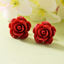 Load image into Gallery viewer, Stainless Steel Red Flower Set Yellow Gold Plated Necklace Pendant and Matching Earrings