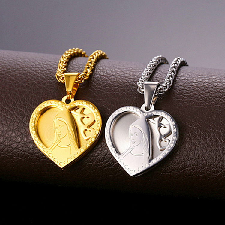 Stainless Steel 316L Heart Virgin Mary Pendant and Necklace