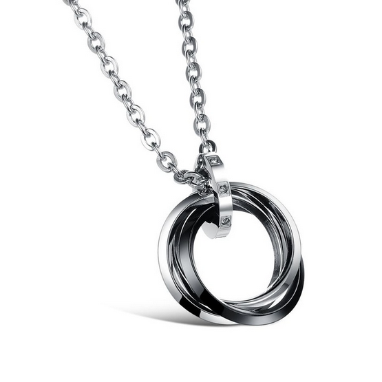 Stylish Stainless Steel 316L Necklace and Ring Pendant with Swarovski Crystals
