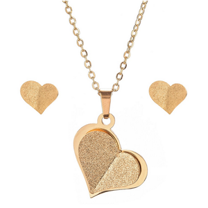 Stainless Steel Yellow Gold Plated Heart Set