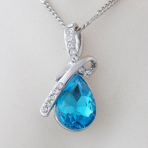 Platinum Plated Necklace with SWAROVSKI CRYSTAL Drop Turquoise Pendant